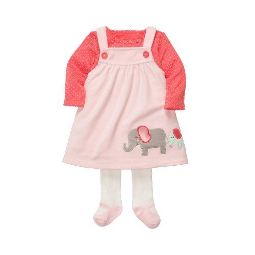 Carter's Kleid Strumpfhose Shirt rosa Elefant Hund türkis US Size Newborn Mädchen Girl (56/62, rosa) - Carters Baby Girls Kleid