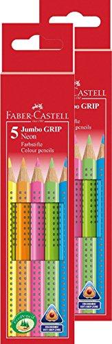 Doppelpack Faber-Castell 110994 - Buntstifte Jumbo Grip Neon, 5-er Etui