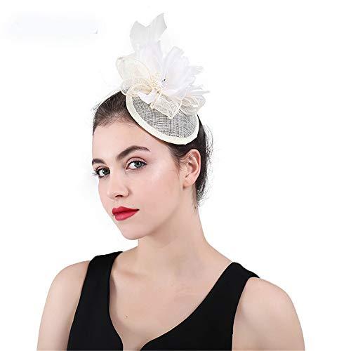 SweetStyle Zylinderhut Handgemachte aristokratische Jockey Hut Kopfbedeckung, beige