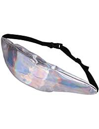 FENICAL Bolsillo de bolsillo neutral de almacenamiento de moda bolsillo diagonal bolso reflexivo del pecho del bolso del teléfono Bolsillo de deportes al aire libre (plata)