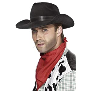 Smiffys Cowboy Hat Indestructible - Black
