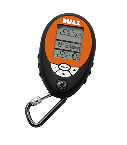 DMAX Mobile Wetterstation 6in1, Schwarz / Orange, 9,2x6x2 cm