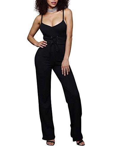 Bigood Femme Uni Combinaison sans Manche à Bretelle Lacet Pantalon Jambe Large Noir