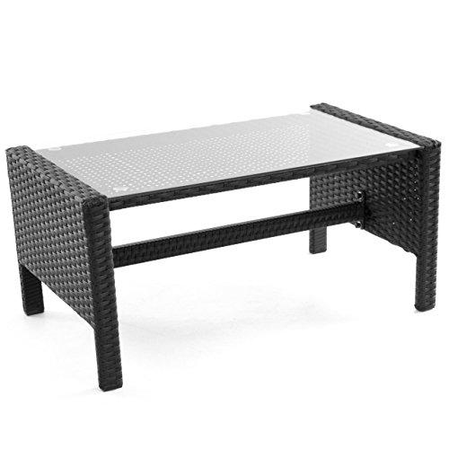 Rattanset 4tlg Sitzecke mit Tisch mit 2 Sessel und 1 Sofa Garnitur Sitzgruppe Polster grau Terrasse Gartenmöbel Poly Rattan Sicherheitsglas Lounge In/Outdoor 4-Sitzer 4-teilig - 4