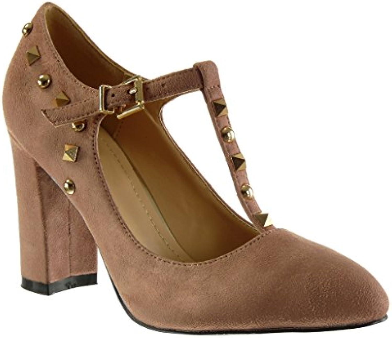 Angkorly Damen Schuhe Pumpe - T-Spange - Dekollete - Nieten - Besetzt - Schleife Blockabsatz High Heel 9 cm