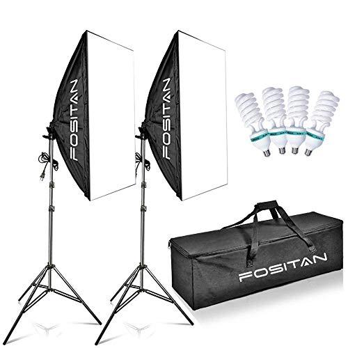 FOSITAN 50x70cm Fotostudio Softbox Studioleuchte Set, 4X 85W Fotolampe, 2X 2m Faltbare Lampenstativ, 5500K Tageslicht Softboxen Studiolicht, Tragetasche