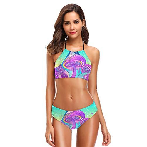 Magic Mushrooms Heilige Geometrie Psychedelic Vibrant 60er Jahre Hippie Womens Badeanzüge 2 Stück Bikini Set hoch taillierte Badeanzüge für Frauen XL (Badeanzüge, Stück-junioren 2)