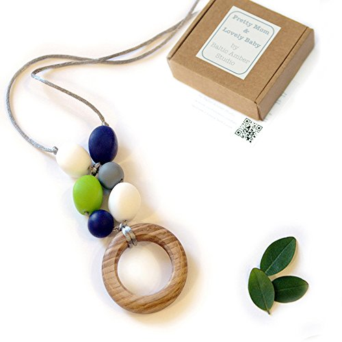 'Oak Teething Ring' Designer Necklace & Gift Box; Genuine OAK Ring & Silicone Beads Jewellery 41cwXzMx3lL