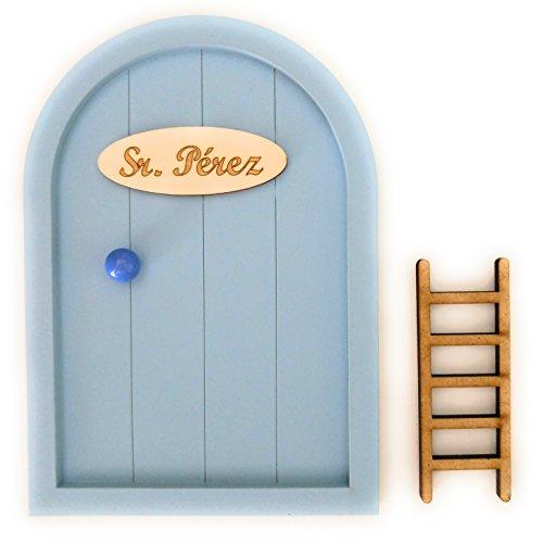 Puerta Ratoncito Pérez de madera varios colores + Escalera + Felpudo + Ratoncito de madera / Decoraciones de pared con adhesivo (Azul bebé)