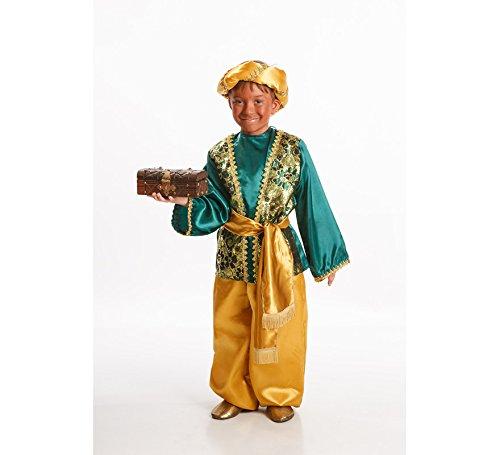 Imagen de disfraz de paje verde para niño en varias tallas