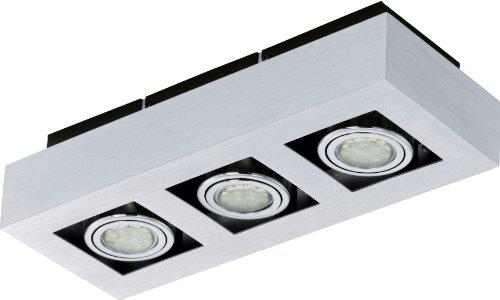 Wand-Deckenleuchte LED Modell LOKE 1, 3-flammig, Alu gebürstet, Stahl, chrom, schwarz, 3xGU10, 3W LED,540 lm, inklusiv Leuchtmittel, L=360 mm, B=140 mm, A=75 mm 91354 E