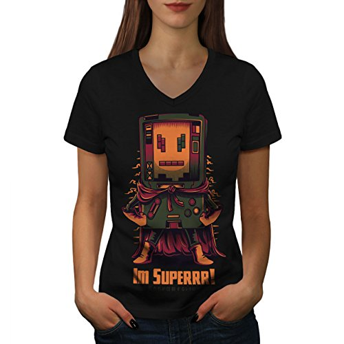 wellcoda Super Held Konsole Frau L V-Ausschnitt T-Shirt (Schwarz-konsole-tabelle)