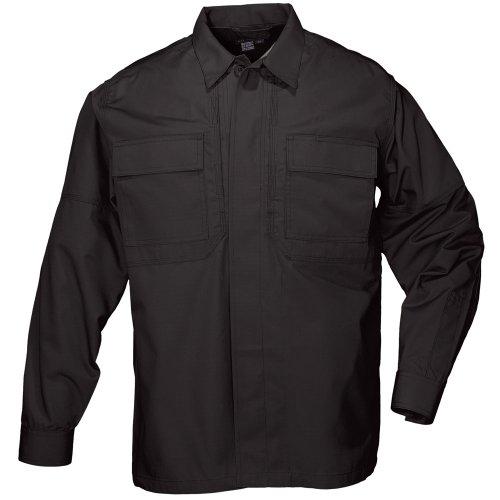 5.11Tactical # 72054t Taclite TDU Lange Ärmel Hoch Shirt, damen Herren, schwarz (Bdu Black Shirts Ripstop)