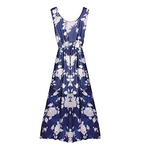 BOMOVO Damen Sommer Ohne Arm Lang Chiffon Strandkleid Abendkleid Maxi Kleid  42 Farbe A42