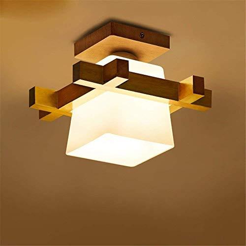 CHXHF E27 Moderne Deckenleuchte Minimalistische Deckenlampen Kreative Deckenbeleuchtung Einfach Deckenstrahler Holz Glas Lampeschirm für Wohnzimmer Esszimmer Schlafzimmer (Leuchtmittel nicht inklusive)