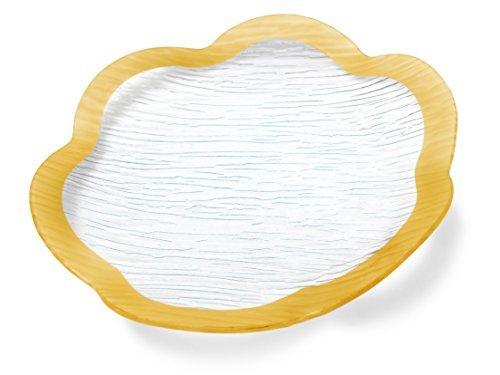 GAC Elegante 33cm gewelltem gehärtetem Glas Servierplatte, rund, unzerbrechlich-splitterfest-Ofen-/mikrowellenfest-Spülmaschinenfest-stapelbar Dekorative Platzteller, Glas Serviertablett Teller Gold Trim