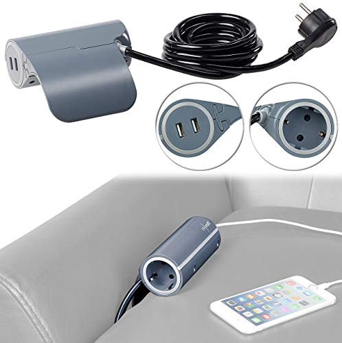 revolt Sofasteckdose: Sofa-Steckdose mit 2 USB-Ladeports, 2,4 A / 12 W, 2,8 m Anschlusskabel (Sofa Steckdosenleiste) (Handy-couch)