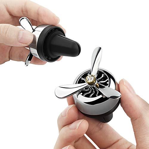 Warxin Deodorante per Auto, Diffusore Profumo Auto, Purificatore d'Aria Auto Aromaterapia Diffusore con 2 Diffusore Pezzi Auto per Viaggio Lega di Alluminio Elica Rotante Aereo