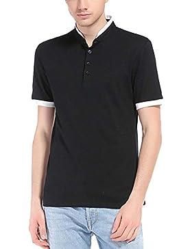 Camisa Polo Camiseta De Manga Corta Casual Hombres Botón De Cuello Negro 2XL