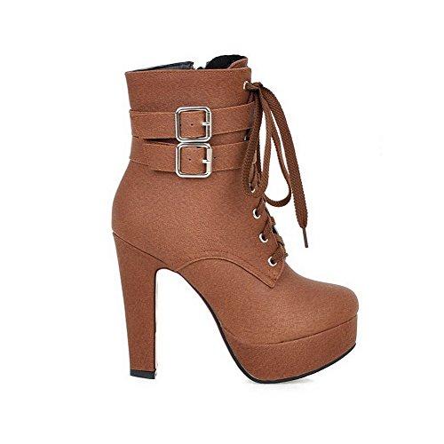 VogueZone009 Damen Reißverschluss Hoher Absatz Überknie Hohe Stiefel Stiefel, Schwarz-PU Leder, 36