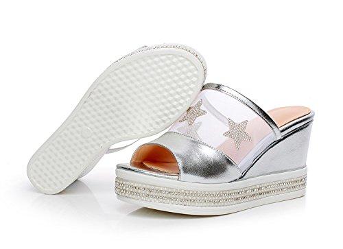 ZYUSHIZ Sandalen dicke Das erste Feld Hausschuhe High-Heel Rutschhemmend coole  Hausschuhe synthetischer Diamant die