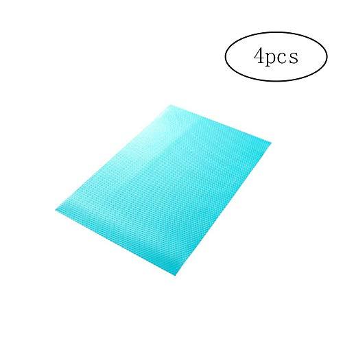 4 pcs Mode Pad Réfrigérateur antifouling antibactériennes Mildiou humidité Pad Preserving Réfrigérateur Tapis Réfrigérateur Coussin Base napperons sous-Verres de Cuisine Tapis (Bleu)