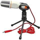 Temo Micrófono de condensador profesional, sonido, con soporte para ordenador, portátil, MSN, Skype, QQ, grabación blanco