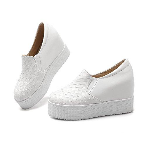 VogueZone009 Femme à Talon Haut Matière Souple Tire Rond Chaussures Légeres Blanc