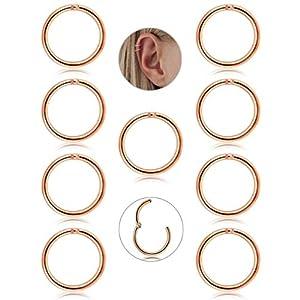 Adramata 9 Stück Edelstahl 16 g Knorpel Kreolen für Männer Frauen Nase Hoop Ring Helix Septum Conch Daith Lippe Tragus Piercing Schmuck
