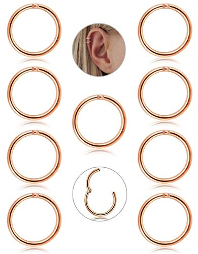 Adramata 9 Pcs 16G Steel 316L with hinges Clicker segment Septum lip Nose Ring Hoop Ring Helix Daith Cartilage Tragus Piercing Hoop Earrings for Men
