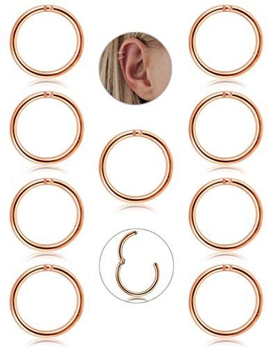 Adramata 9 Stücke Edelstahl 16g Knorpel Creolen für Männer Frauen Nase Hoop Ring Helix Septum Conch Daith Lip Tragus Piercing Schmuck (16 G Lip Ringe)