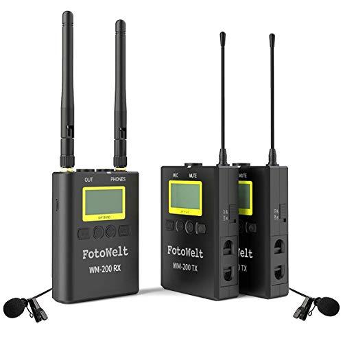 fotowelt 100 Canali WM-200 senza fili microfono lavalier per DSLR Fotocamere Videocamera smartphone Registratore Audio