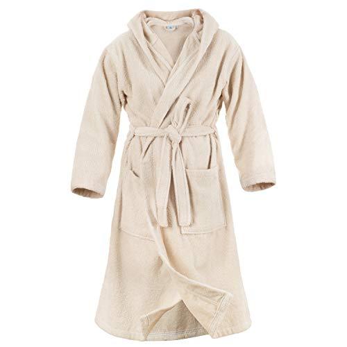 Damen Bademantel (M, Hellbeige/Taupe) - 100% Baumwolle, Oeko TEX Zertifiziert - Bademantel aus Baumwollfrottee mit Kapuze, 2 Taschen, Gürtel - Saunamantel, Weich, Saugfähig und Bequem