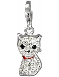 SilberDream scintillement bijoux - Charm chat blanc - Femme - Argent 925/1000 - tchèques cristaux Preciosa - scintillement Charms - GSC506W