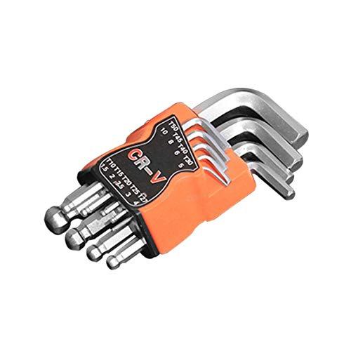 Noradtjcca 9 Stücke Kugelkopf Inbusschlüssel Sets Torx L Form Repair Tool Schraubendreher Werkzeug Set CR-V Stahl Drehmomentschlüssel