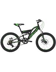 KS Cycling Kinder Mountainbike Fully Xtraxx RH 30 cm Fahrrad, Schwarz-Grün, 20