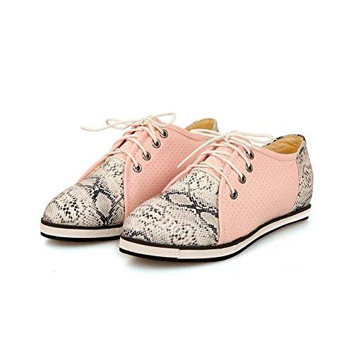 balamasa pour femme à lacets couleurs assorties Motif python Matière souple flats-shoes Rose