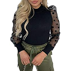 Camiseta Manga Larga para Mujer Blusa Crop Tops con Manga Transparente de Lunares y Cuello Alto Mujer Bodysuit Clubwear Ropa Invierno Primavera (Negro, M)