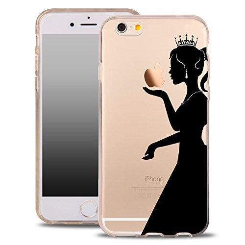 Für iPhone 8 Hülle Silikon von OOH!COLOR® | Schutzhülle Motiv ROZ006 weiß elegant Schmetterling Tasche elastische Handyhülle Transparent Design Case Cover Slim Etui APL008 Prinzessin