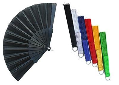 Fächer Stoff Handfächer Taschenfächer in 6 Unifarben sortiert 6 Stück Set