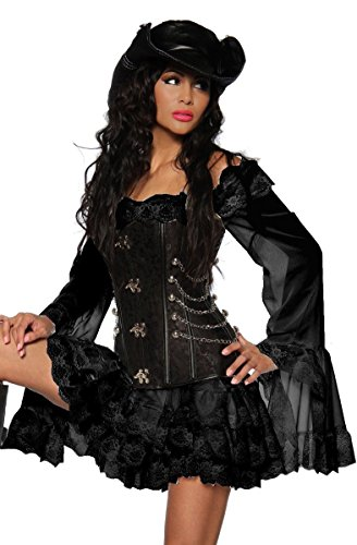 Sexy Saloon Kostüm - Piratenkleid / Long-Bluse - schwarz - XL