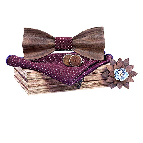bloatboy Hölzerne Fliege, Hochzeiten, Abschlussball Herren Klassische Mode Krawatte Fliege, Manschettenknöpfe Taschentuch Boutonniere Fliege Set (Rot) -