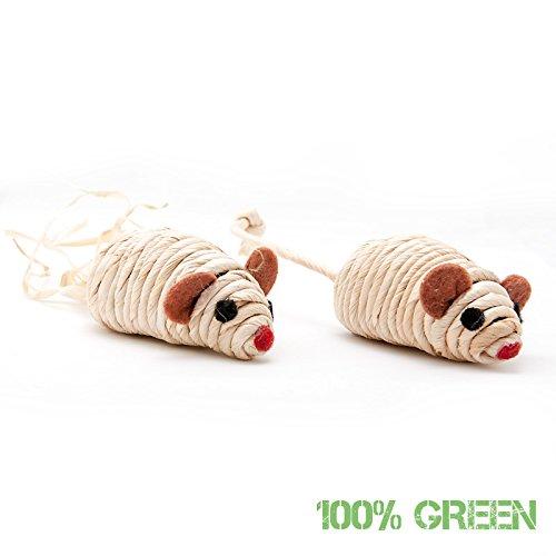 katzeninfo24.de 2 Stück Spielzeugmäuse aus natürlichen Sisal, Katzenspielzeug im Doppelpack