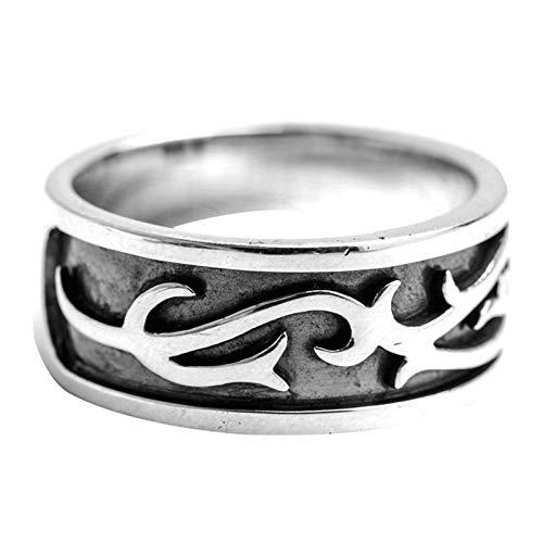 Aienid Ring Sterling Silber Herren Filigraner Vintage-Musterring 9,5 MM Ring für Männer Size:61 (19.4)