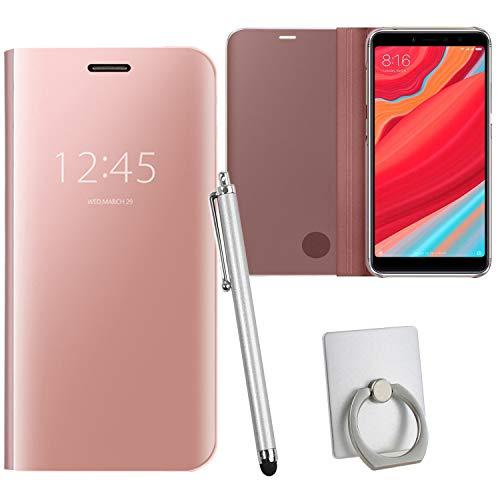 Guran® Mirror Efecto Espejo Funda para Xiaomi Redmi S2 Clear View Función de Soporte Plegable Smartphone Funda Protectora (Oro Rosa)