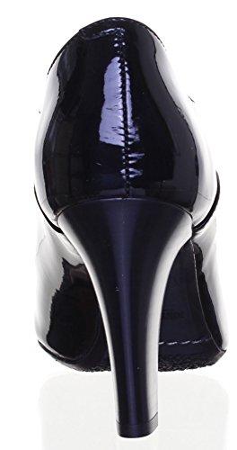 Reece Justin talons hauts pour femme en cuir à lacets Court chaussures Black Patent N12