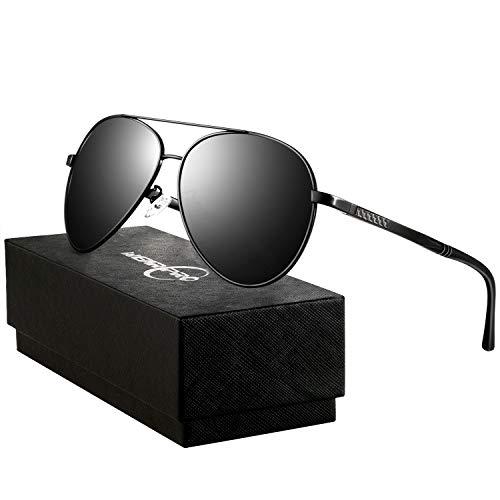 wearpro Sonnenbrillen Herren Damen Pilotenbrille Herren Polarisierte Sonnenbrille Männer Retro Halbrandlose Premium Military Style Klassische Mode Metall Brille 100% UV400 UV-Schutz(schwarz)
