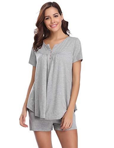 Abollria set pigiama donna estivo, pigiami due pezzi da donna in cotone al 95%, pigiama donna corto, maniche corte in cotone grigio xxl