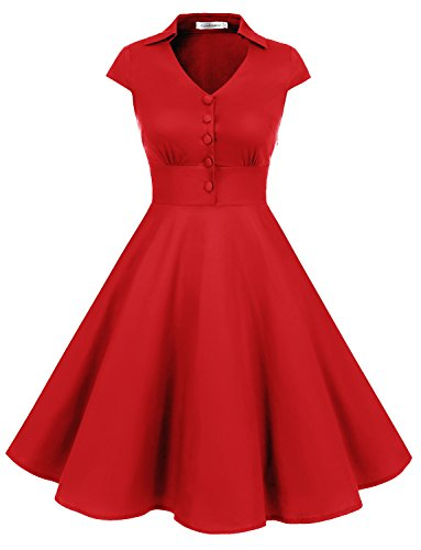 Gardenwed Vintage 1950s V-Neck Rockabilly Audery Swing Dress Retro Cocktail Dress With Cap Sleeves
