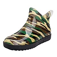 FWEIP Men's Rain Boots Camouflage Short Tube Boot Non-Slip Waterproof Shoes Boy Low High Top Water Fishing Shoes